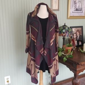 Hooded Print Cardigan